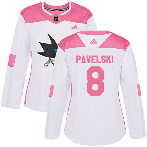 Women's Adidas San Jose Sharks #8 Joe Pavelski Authentic White/Pink Fashion NHL Jersey