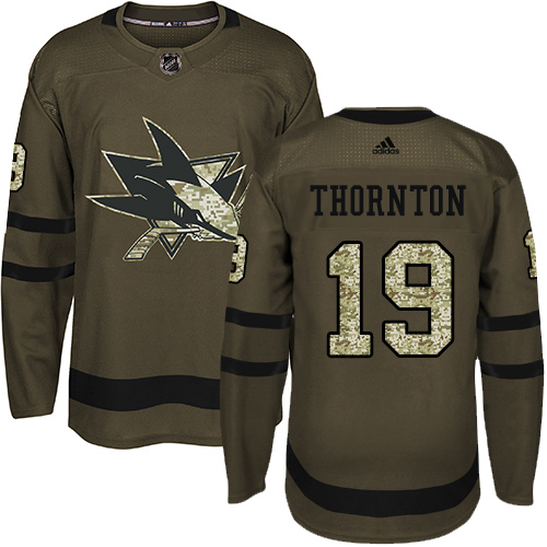Youth Adidas San Jose Sharks #19 Joe Thornton Authentic Green Salute to Service NHL Jersey