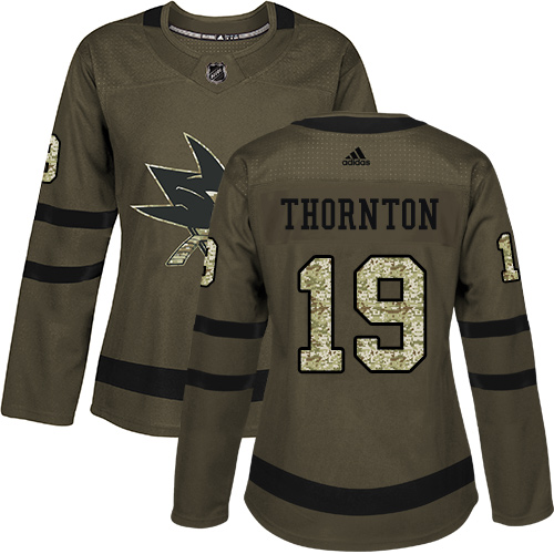 Women's Adidas San Jose Sharks #19 Joe Thornton Authentic Green Salute to Service NHL Jersey