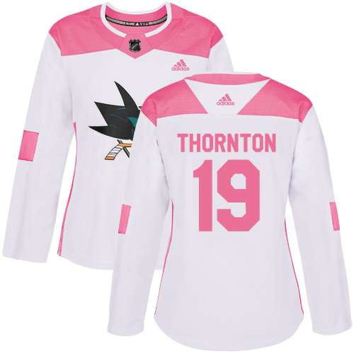 Women's Adidas San Jose Sharks #19 Joe Thornton Authentic White/Pink Fashion NHL Jersey