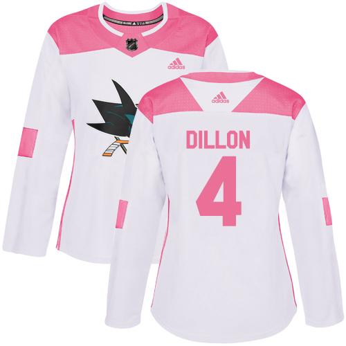 Women's Adidas San Jose Sharks #4 Brenden Dillon Authentic White/Pink Fashion NHL Jersey