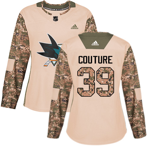 Women's Adidas San Jose Sharks #39 Logan Couture Authentic Camo Veterans Day Practice NHL Jersey
