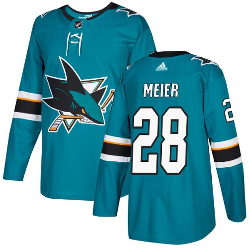 Men's Adidas San Jose Sharks #28 Timo Meier Authentic Teal Green Home NHL Jersey