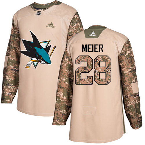 Men's Adidas San Jose Sharks #28 Timo Meier Authentic Camo Veterans Day Practice NHL Jersey