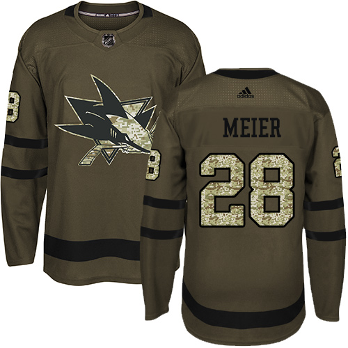 Men's Adidas San Jose Sharks #28 Timo Meier Premier Green Salute to Service NHL Jersey