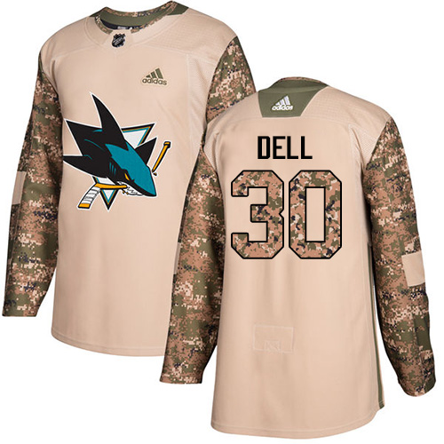 Men's Adidas San Jose Sharks #30 Aaron Dell Authentic Camo Veterans Day Practice NHL Jersey