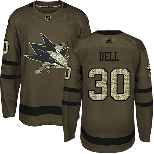 Men's Adidas San Jose Sharks #30 Aaron Dell Authentic Green Salute to Service NHL Jersey