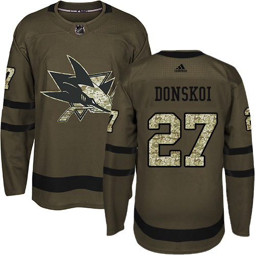 Men's Adidas San Jose Sharks #27 Joonas Donskoi Authentic Green Salute to Service NHL Jersey