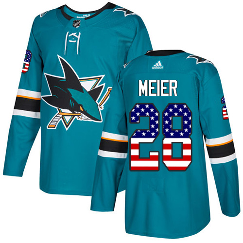 Men's Adidas San Jose Sharks #28 Timo Meier Authentic Teal Green USA Flag Fashion NHL Jersey