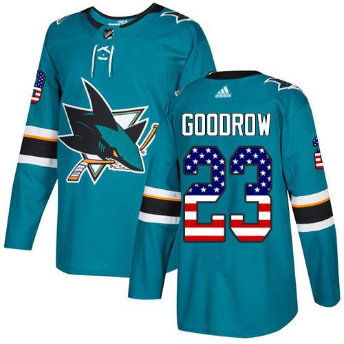 Men's Adidas San Jose Sharks #23 Barclay Goodrow Authentic Teal Green USA Flag Fashion NHL Jersey