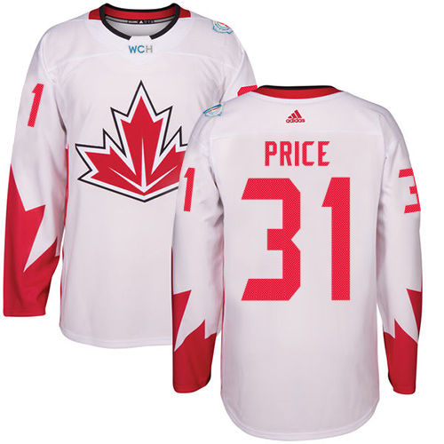 Men's Adidas Team Canada #31 Carey Price Premier White Home 2016 World Cup Hockey Jersey