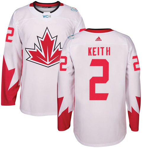 Men's Adidas Team Canada #2 Duncan Keith Authentic White Home 2016 World Cup Hockey Jersey