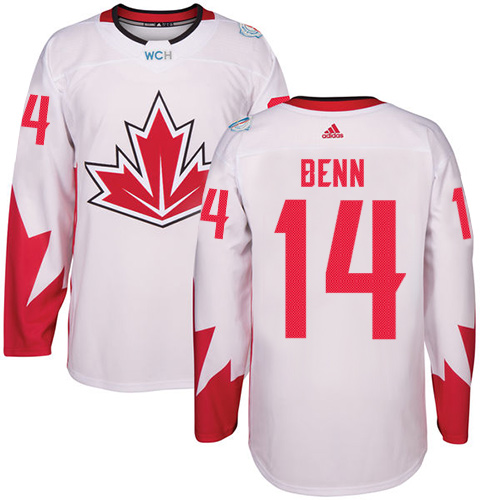 Men's Adidas Team Canada #14 Jamie Benn Authentic White Home 2016 World Cup Hockey Jersey