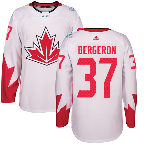 Men's Adidas Team Canada #37 Patrice Bergeron Authentic White Home 2016 World Cup Hockey Jersey