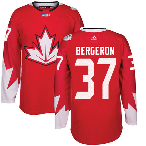 Men's Adidas Team Canada #37 Patrice Bergeron Authentic Red Away 2016 World Cup Hockey Jersey