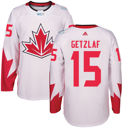 Men's Adidas Team Canada #15 Ryan Getzlaf Authentic White Home 2016 World Cup Hockey Jersey