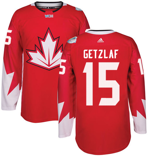 Men's Adidas Team Canada #15 Ryan Getzlaf Authentic Red Away 2016 World Cup Hockey Jersey