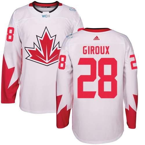 Men's Adidas Team Canada #28 Claude Giroux Authentic White Home 2016 World Cup Hockey Jersey