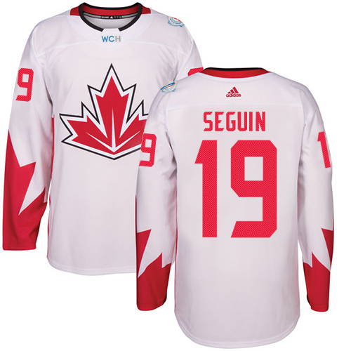 Men's Adidas Team Canada #19 Tyler Seguin Authentic White Home 2016 World Cup Hockey Jersey