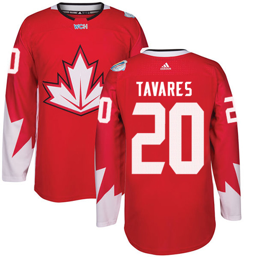 Men's Adidas Team Canada #20 John Tavares Authentic Red Away 2016 World Cup Hockey Jersey