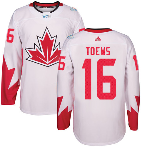 Men's Adidas Team Canada #16 Jonathan Toews Premier White Home 2016 World Cup Hockey Jersey