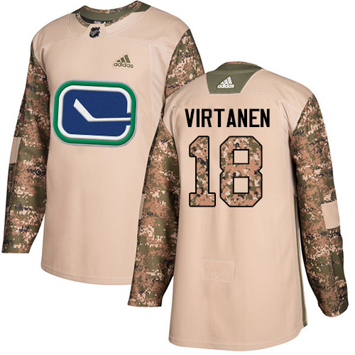 Men's Adidas Vancouver Canucks #18 Jake Virtanen Authentic Camo Veterans Day Practice NHL Jersey