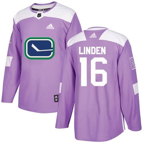 Men's Adidas Vancouver Canucks #16 Trevor Linden Authentic Purple Fights Cancer Practice NHL Jersey