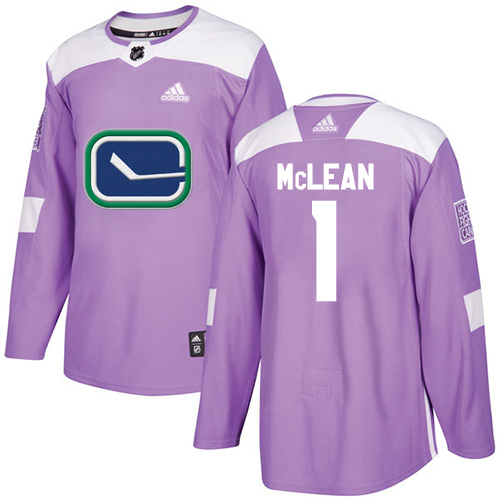 Men's Adidas Vancouver Canucks #1 Kirk Mclean Authentic Purple Fights Cancer Practice NHL Jersey
