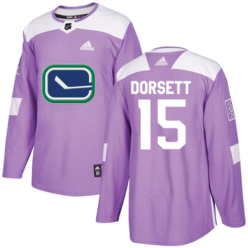 Men's Adidas Vancouver Canucks #15 Derek Dorsett Authentic Purple Fights Cancer Practice NHL Jersey