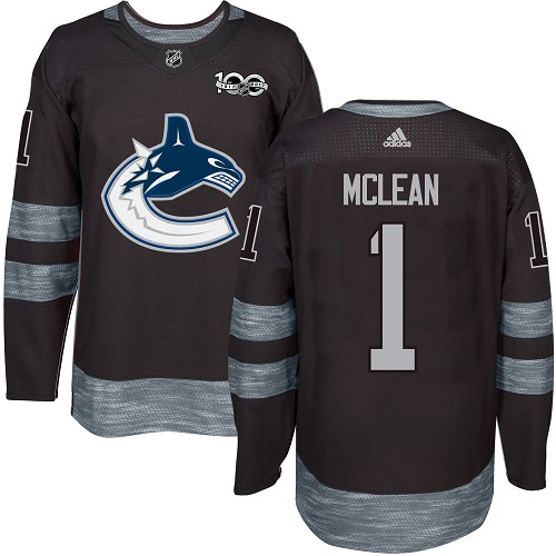 Men's Adidas Vancouver Canucks #1 Kirk Mclean Authentic Black 1917-2017 100th Anniversary NHL Jersey