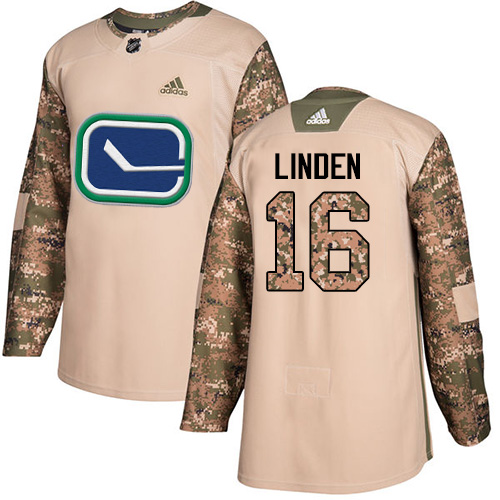 Men's Adidas Vancouver Canucks #16 Trevor Linden Authentic Camo Veterans Day Practice NHL Jersey