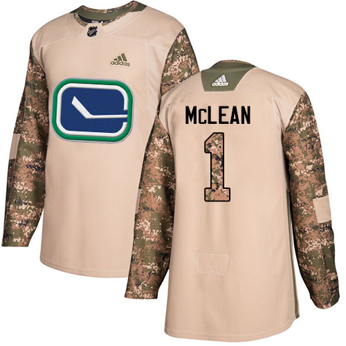Men's Adidas Vancouver Canucks #1 Kirk Mclean Authentic Camo Veterans Day Practice NHL Jersey