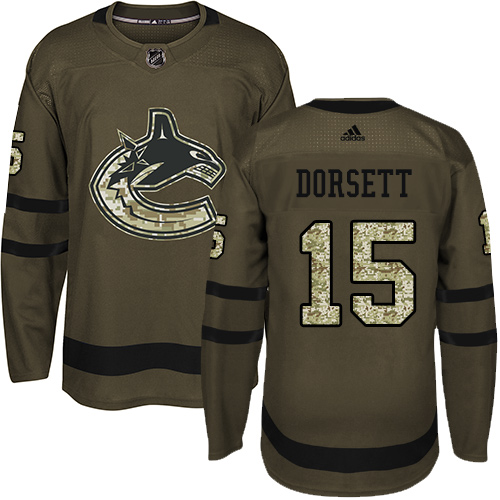 Men's Adidas Vancouver Canucks #15 Derek Dorsett Authentic Green Salute to Service NHL Jersey