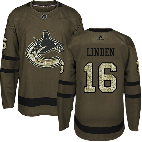 Men's Adidas Vancouver Canucks #16 Trevor Linden Authentic Green Salute to Service NHL Jersey