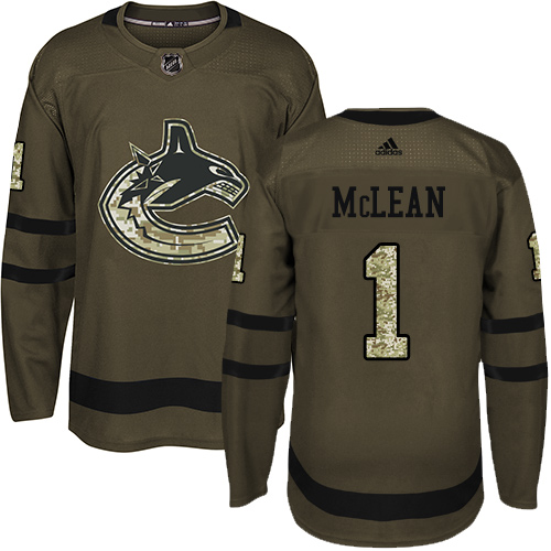 Men's Adidas Vancouver Canucks #1 Kirk Mclean Authentic Green Salute to Service NHL Jersey