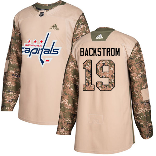 Men's Adidas Washington Capitals #19 Nicklas Backstrom Authentic Camo Veterans Day Practice NHL Jersey