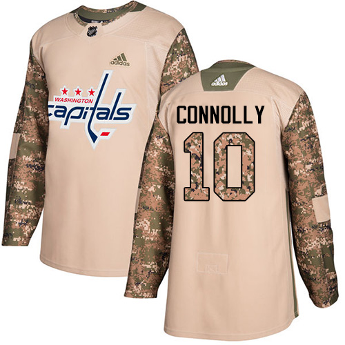 Men's Adidas Washington Capitals #10 Brett Connolly Authentic Camo Veterans Day Practice NHL Jersey