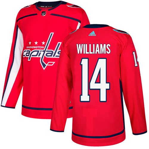 Men's Adidas Washington Capitals #14 Justin Williams Authentic Red Home NHL Jersey