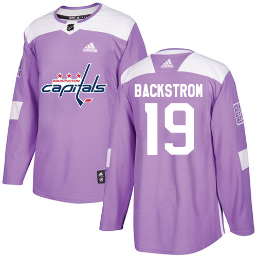 Men's Adidas Washington Capitals #19 Nicklas Backstrom Authentic Purple Fights Cancer Practice NHL Jersey
