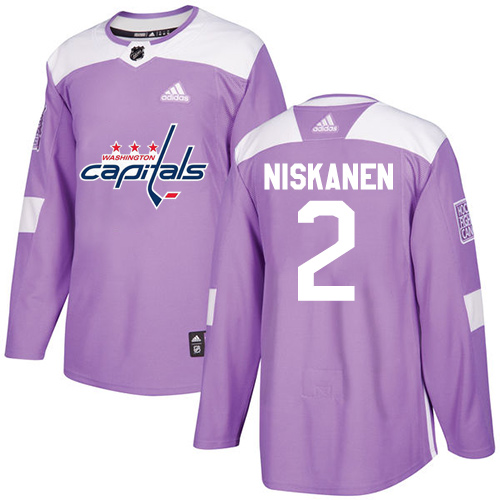 Men's Adidas Washington Capitals #2 Matt Niskanen Authentic Purple Fights Cancer Practice NHL Jersey