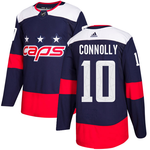 Men's Adidas Washington Capitals #10 Brett Connolly Authentic Navy Blue 2018 Stadium Series NHL Jersey