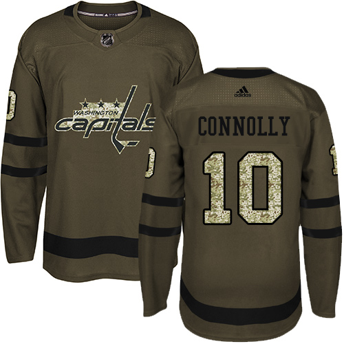 Men's Adidas Washington Capitals #10 Brett Connolly Authentic Green Salute to Service NHL Jersey