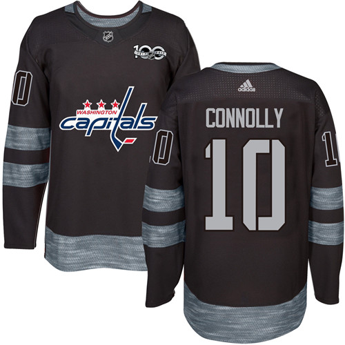 Men's Adidas Washington Capitals #10 Brett Connolly Authentic Black 1917-2017 100th Anniversary NHL Jersey