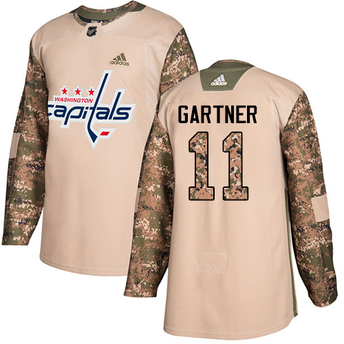 Men's Adidas Washington Capitals #11 Mike Gartner Authentic Camo Veterans Day Practice NHL Jersey