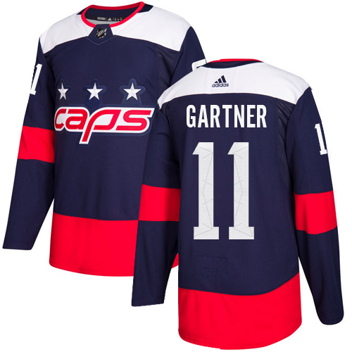 Men's Adidas Washington Capitals #11 Mike Gartner Authentic Navy Blue 2018 Stadium Series NHL Jersey