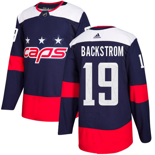 Men's Adidas Washington Capitals #19 Nicklas Backstrom Authentic Navy Blue 2018 Stadium Series NHL Jersey