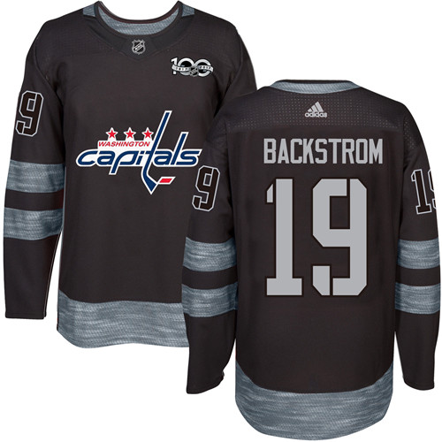 Men's Adidas Washington Capitals #19 Nicklas Backstrom Authentic Black 1917-2017 100th Anniversary NHL Jersey