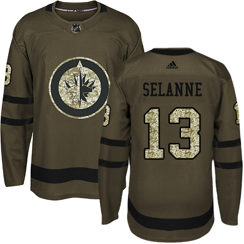 Men's Adidas Winnipeg Jets #13 Teemu Selanne Authentic Green Salute to Service NHL Jersey