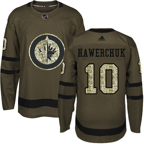 Men's Adidas Winnipeg Jets #10 Dale Hawerchuk Authentic Green Salute to Service NHL Jersey