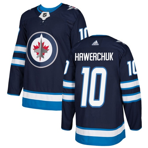 Men's Adidas Winnipeg Jets #10 Dale Hawerchuk Premier Navy Blue Home NHL Jersey